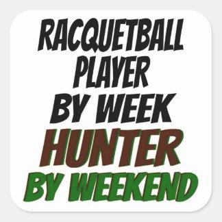 Racquetball Player Hunter Square Sticker