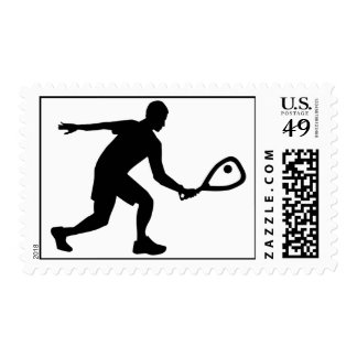 Racquetball player postage stamp