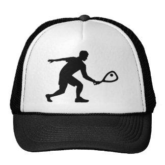 Racquetball player trucker hat
