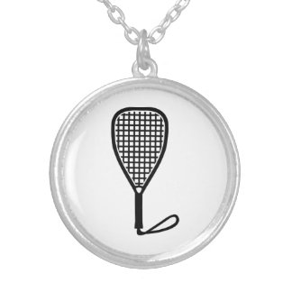 Racquetball racket silver plated necklace