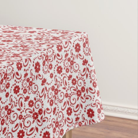 Racy red and white hawaiian styled floral tablecloth