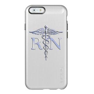 Racy Registered Nurse RN Silver Caduceus Snakes Incipio Feather Shine iPhone 6 Case