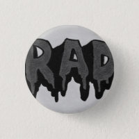 'Rad' Black and White Grunge Badge Pinback Button