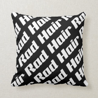 Rad Hair Black And White Text Pattern Customizable Throw Pillow