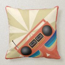 Rad Retro Boombox Radio Throw Pillow