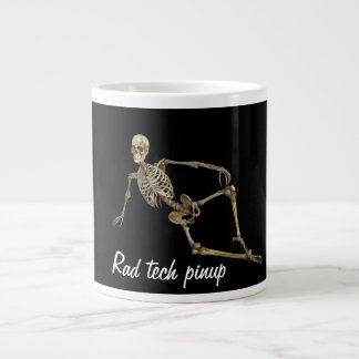 """Rad tech pinup with reclining skeleton Giant Coffee Mug"