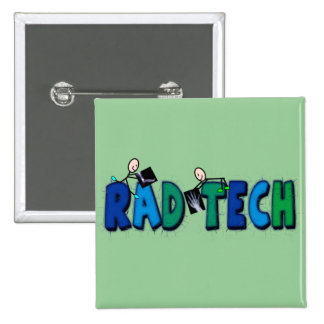 Rad Tech With Stick People and Xrays Design 2 Inch Square Button