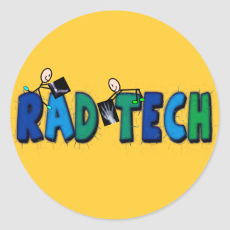 Rad Tech With Stick People and Xrays Design Classic Round Sticker
