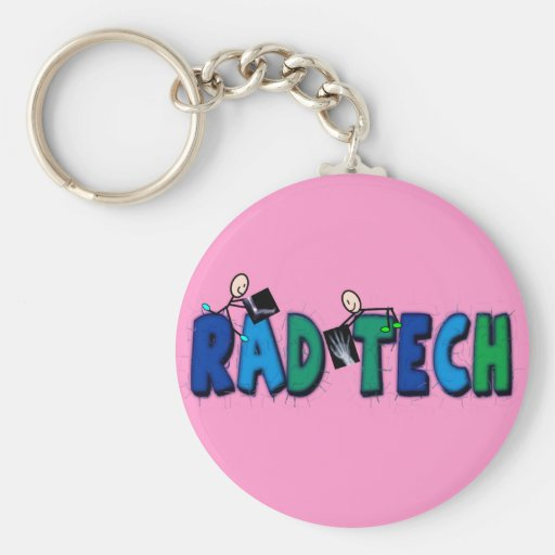 Rad Tech With Stick People and Xrays Design Keychains