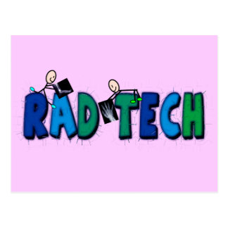 Rad Tech With Stick People and Xrays Design Postcard