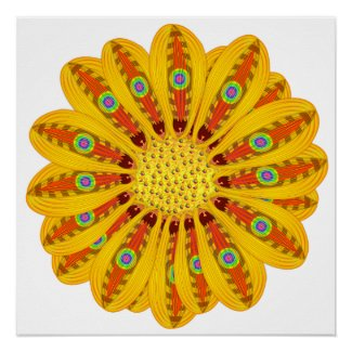 Rad Yellow Posh Flower Flair Deviant Hipster Rave Poster