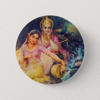 Radha and Krishna button