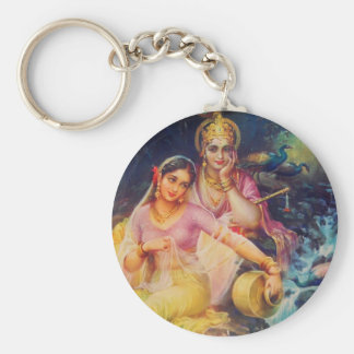 Radha and Krishna button Keychain