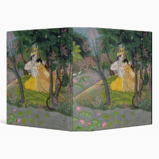 Radha and Krishna embrace in a grove of flowering Binder