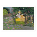 Radha and Krishna embrace in a grove of flowering Postcard