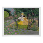 Radha and Krishna embrace in a grove of flowering Poster
