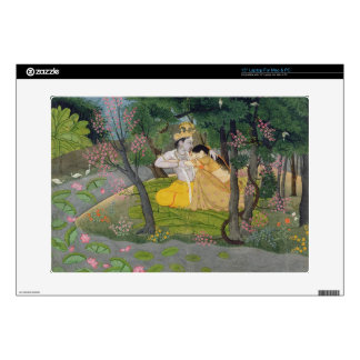 Radha and Krishna embrace in a grove of flowering Decal For Laptop