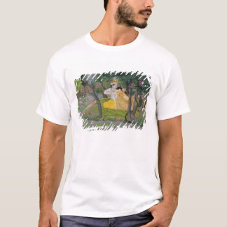 Radha and Krishna embrace in a grove of flowering T-Shirt