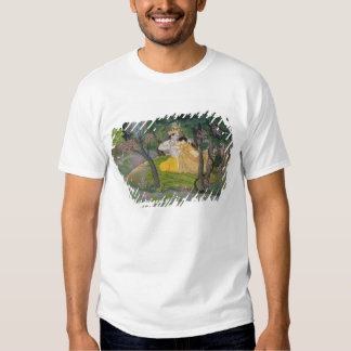 Radha and Krishna embrace in a grove of flowering Tee Shirt