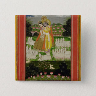 Radha and Krishna embrace in an idealised landscap Button