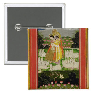 Radha and Krishna embrace in an idealised landscap Pin