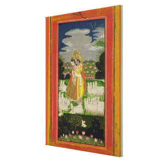 Radha and Krishna embrace in an idealised landscap Gallery Wrap Canvas