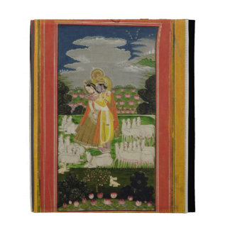 Radha and Krishna embrace in an idealised landscap iPad Case