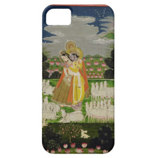 Radha and Krishna embrace in an idealised landscap iPhone 5 Cases