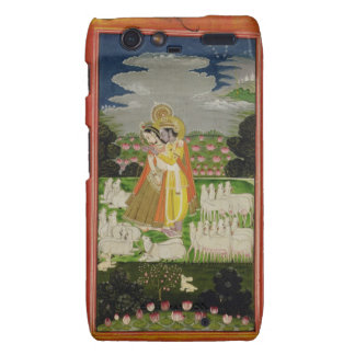 Radha and Krishna embrace in an idealised landscap Motorola Droid RAZR Cover