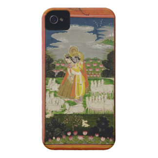 Radha and Krishna embrace in an idealised landscap iPhone 4 Case-Mate Case