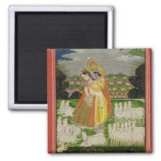 Radha and Krishna embrace in an idealised landscap Refrigerator Magnet