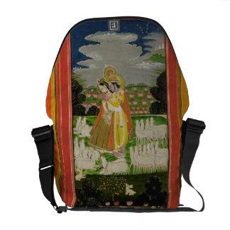 Radha and Krishna embrace in an idealised landscap Messenger Bag