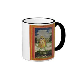 Radha and Krishna embrace in an idealised landscap Mugs