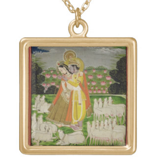 Radha and Krishna embrace in an idealised landscap Jewelry