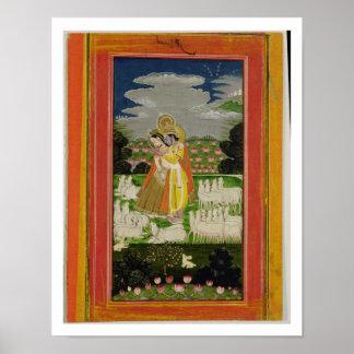 Radha and Krishna embrace in an idealised landscap Print