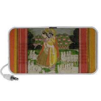 Radha and Krishna embrace in an idealised landscap iPod Speaker