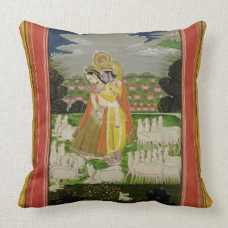 Radha and Krishna embrace in an idealised landscap Throw Pillow