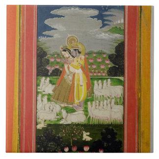 Radha and Krishna embrace in an idealised landscap Ceramic Tile