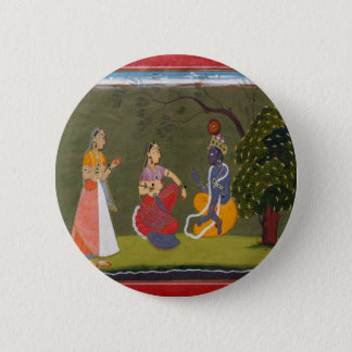 Radha and Krishna in Discussion Button