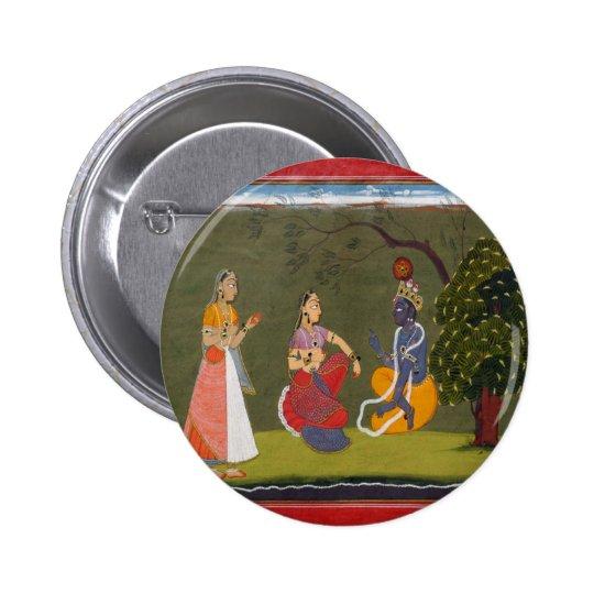Radha and Krishna in Discussion Button