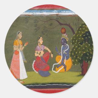 Radha and Krishna in Discussion Classic Round Sticker