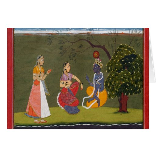 Radha and Krishna in Discussion Greeting Card