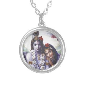 Radha and Krishna Round Pendant Necklace