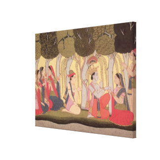 Radha and Krishna seated in a grove, Kulu Canvas Print