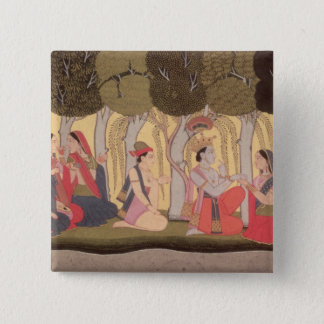 Radha and Krishna seated in a grove, Kulu Pinback Button