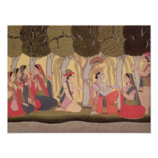 Radha and Krishna seated in a grove, Kulu Poster