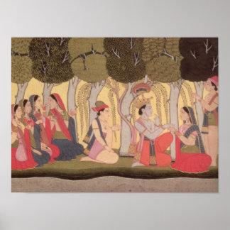 Radha and Krishna seated in a grove, Kulu Posters