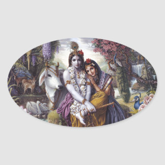 Radha and Krishna Oval Sticker