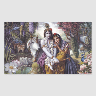 Radha and Krishna Rectangular Sticker