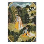 Radha and Krishna walking in a grove Greeting Card